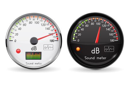 Decibel gauge. Volume unit. Glass gauge with chrome frame. Vector 3d illustration isolated on white background