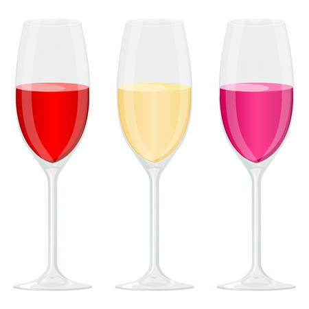 Glass of wine. Red, white and rose wine. Vector illustration isolated on white background Standard-Bild - 110488385