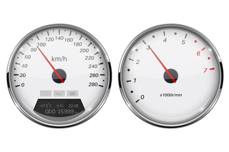 Speedometer and tachometer. White gauge with metal frame. Vector 3d illustration isolated on white background Stock Illustratie