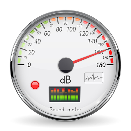 Decibel gauge. Volume unit on high level. Glass gauge with chrome frame