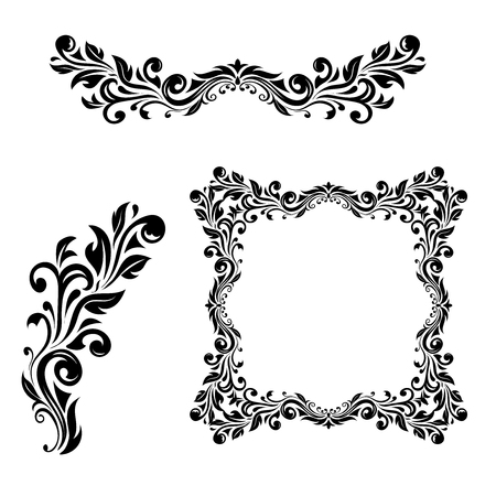 Floral ornamental decorations. Vector illustration isolated on white background