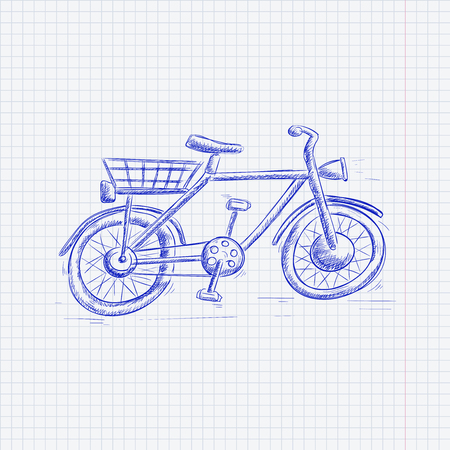 Bike. Blue hand drawn sketch on lined paper background. Vector illustration