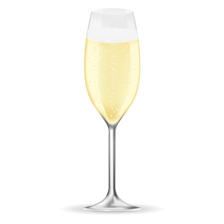 Bicchiere di champagne. Illustrazione vettoriale 3d isolato su sfondo bianco Vettoriali