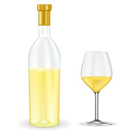 Aprire la bottiglia di vino bianco con il vetro. Illustrazione vettoriale 3d isolato su sfondo bianco