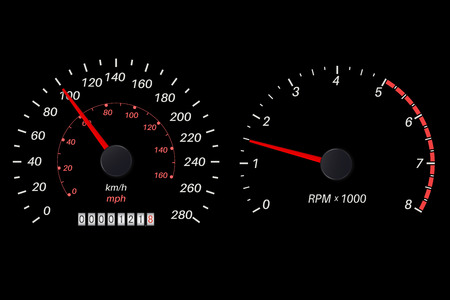 Tachometer and speedometer scale on black background. Vector illustration Stock Illustratie