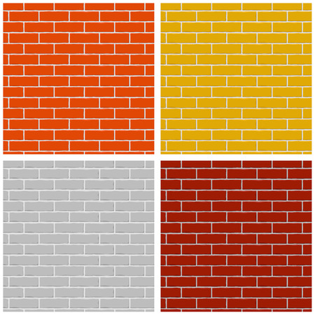 Bricks wall. Set of colored seamless patterns. Vector illustration Archivio Fotografico - 107867005