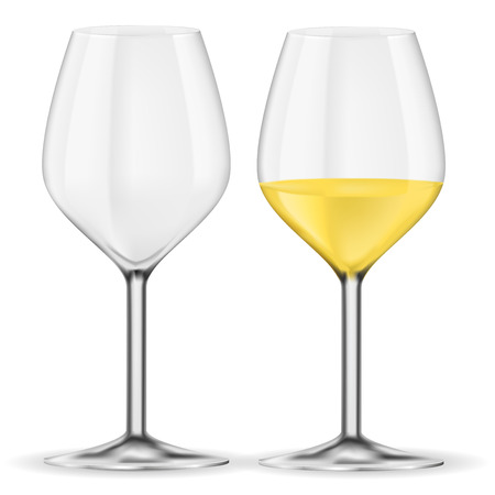 Glass of white wine. Empty and full. Vector 3d illustration isolated on white background