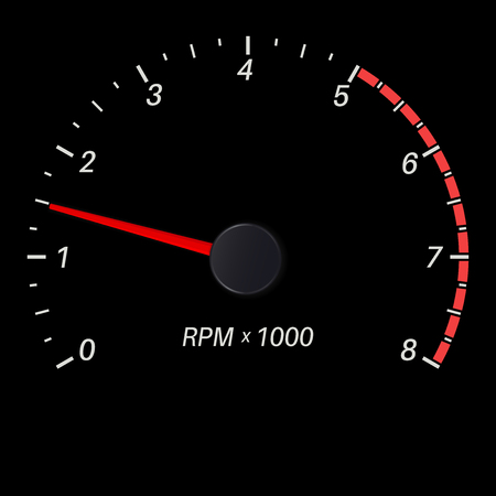 Tachometer black scale. Low rotation speed. Vector illustration
