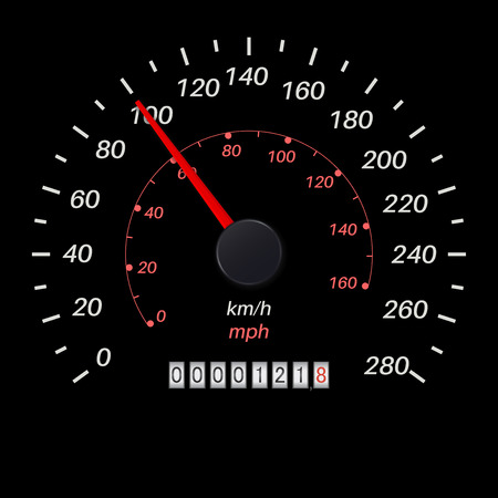 Speedometer. Black scale. Vector illustration isolated on white background Illustration