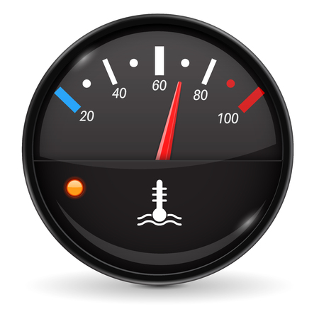 Temperature car gauge. Black device. Vector 3d illustration isolated on white background