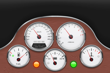 Car dashboard panel decorated with wood