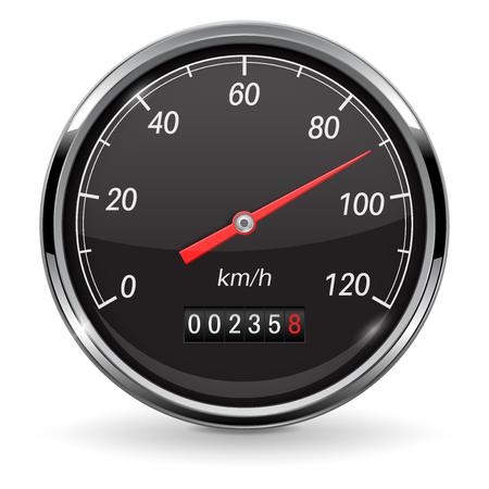 Speedometer. Black car dashboard gauge. Vector 3d illustration isolated on white background