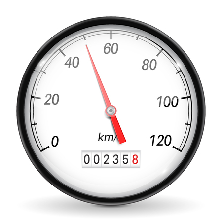 Speedometer. White car dashboard gauge. Vector 3d illustration isolated on white background
