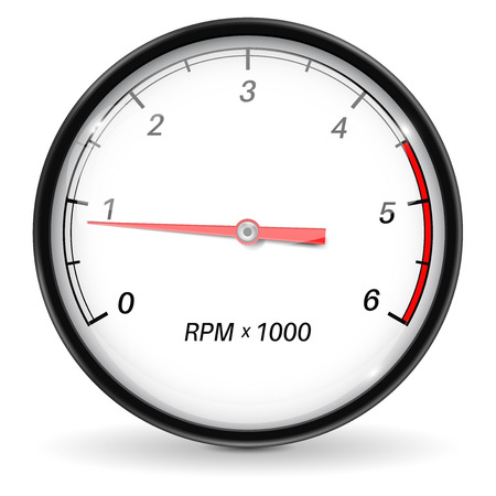 Tachometer. White car gauge. Vector 3d illustration isolated on white background