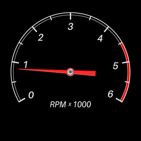 Tachometer black scale. Low rotation speed. Vector illustration Vector Illustratie
