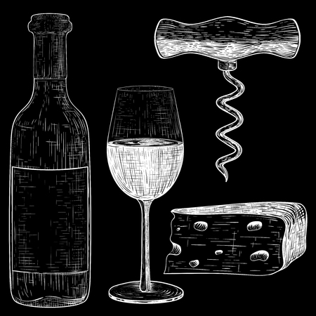 Wine set. White hand drawn sketch on black background. Vintage style Vectores