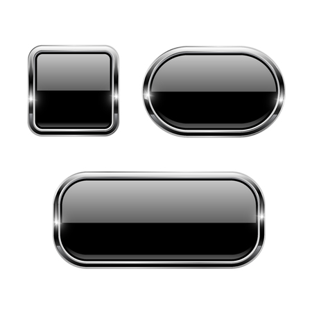 Black glass buttons with chrome frame. 3d icons. Vector illustration isolated on white background