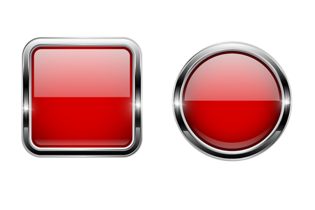 Red buttons with chrome frame. Round and square glass shiny 3d icons. Vector illustration isolated on white background Illustration