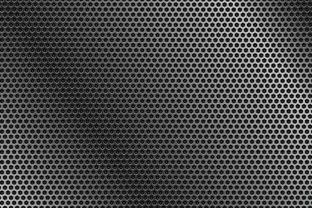 Metal perforated background with shadow. Vector 3d illustration