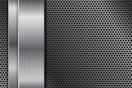 Metal perforated background with vertical stainless steel plate. Vector 3d illustration Ilustrace