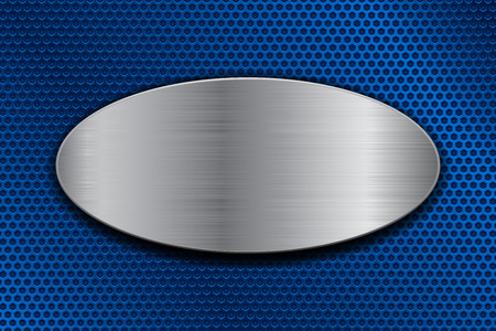 Brushed metal oval plate on blue perforated background. Vector 3d illustration