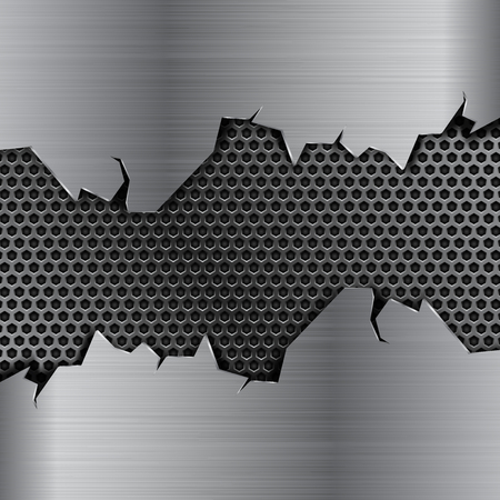Metal background with torn edges and perforation. Vector 3d illustration