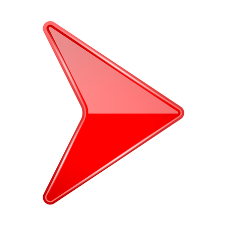 Red shiny 3d arrow. Vector illustration isolated on white background Stock Illustratie