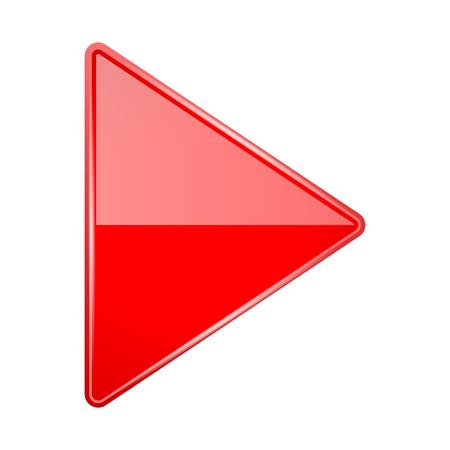 Roter glänzender 3D-Pfeil. Vektor-Illustration isoliert auf weißem Hintergrund