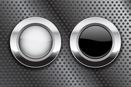 White and black buttons on metal perforated background. Round glass icons with chrome frame. Vector 3d illustration