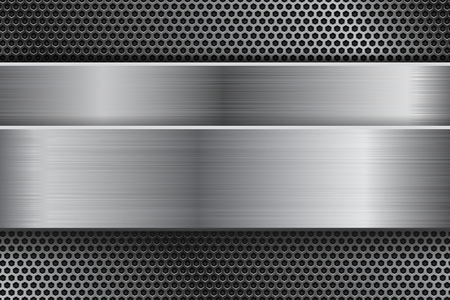 Metal background with perforation and brushed steel plate