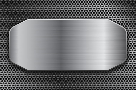 Brushed metal plate on perforated background. Vector 3d illustration