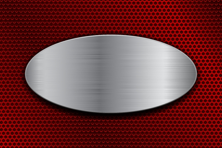Brushed metal oval plate on red perforated background. Vector 3d illustration Ilustrace