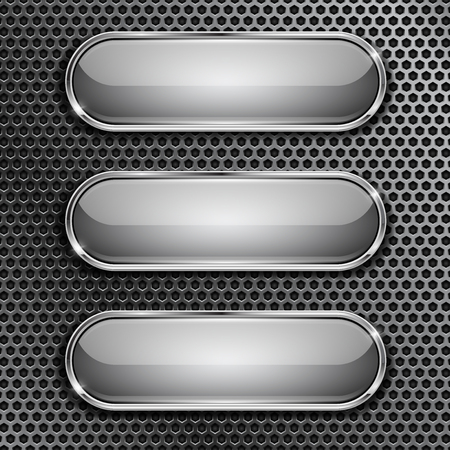 Oval glass buttons with chrome frame on metal perforated background. Vector 3d illustration