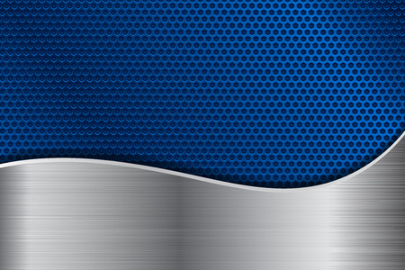 Blue metal perforated background with stainless steel wave