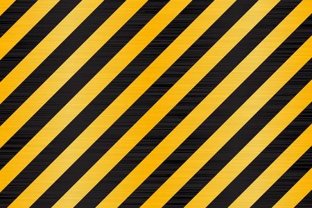 Under construction background. Black yellow diagonal stripes. Vector 3d illustration Ilustração