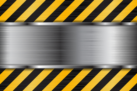 Brushed metal texture with black yellow stripes. Under construction background Stock Photo