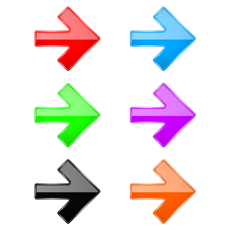 Farbige glänzende 3D-Pfeile. Web-Symbole aus Glas. Vektor-Illustration isoliert auf weißem Hintergrund Vektorgrafik