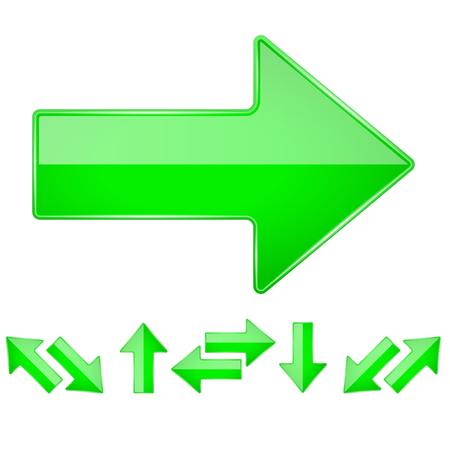 Grüne glänzende gerade 3D-Pfeile. Vektor-Illustration isoliert auf weißem Hintergrund
