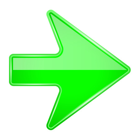 Green shiny 3d arrow. Vector illustration isolated on white background