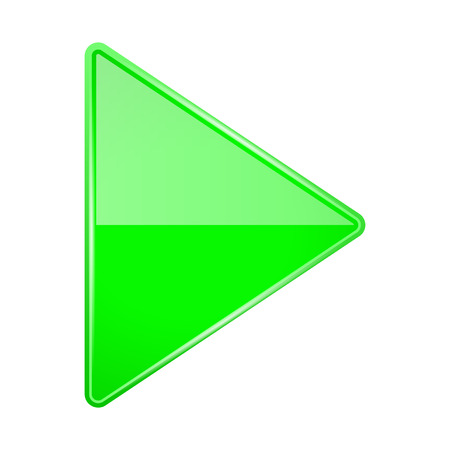 Green shiny 3d arrow. Play icon. Vector illustration isolated on white background