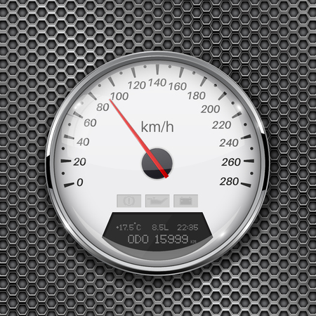 Speedometer on metal perforated background. 90 km per hour. Vector 3d illustration