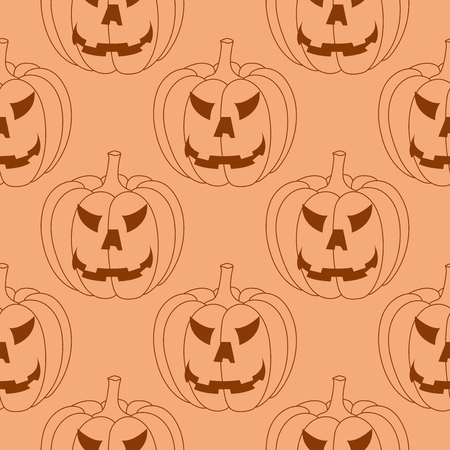 Halloween pumpkin seamless pattern. Orange background. Vector illustration Vetores