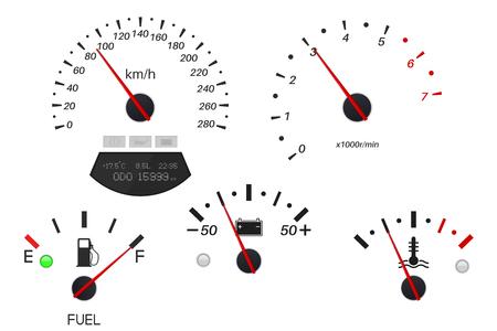 Échelles de tableau de bord de voiture. Jauge de carburant, compteur de vitesse, tachymètre, indicateur de température. Illustration vectorielle isolée sur fond blanc Vecteurs