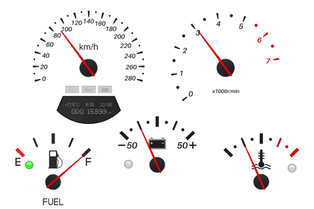 Car dashboard scales. Fuel gauge, speedometer, tachometer, temperature indicator. Vector illustration isolated on white background
