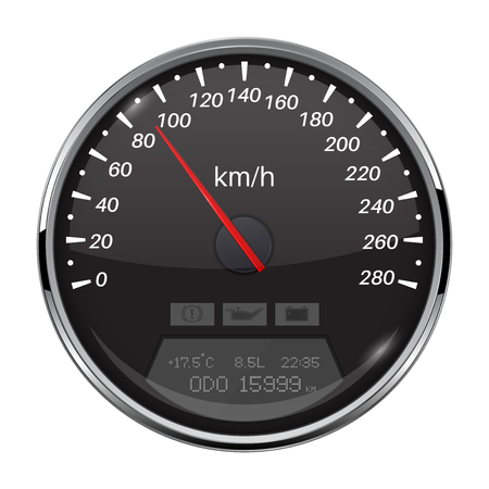 Speedometer. Black speed gauge with metal frame. 90 km per hour. Vector 3d illustration isolated on white background Illustration