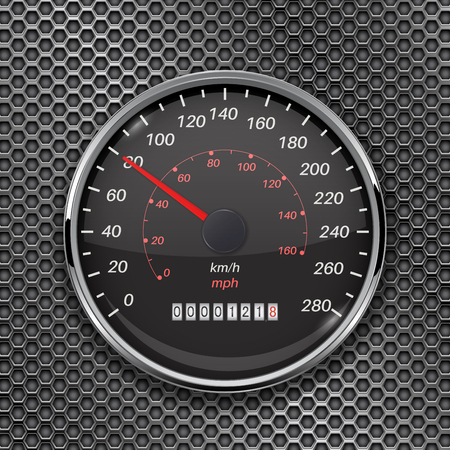 Speedometer on metal perforated background. 80 km per hour. Vector 3d illustration