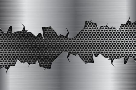 Metal background with torn edges and perforation. Vector 3d illustration Illustration