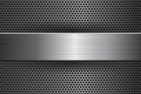 Metal background with perforation and brushed steel plate. Vector 3d illustration Vector Illustration
