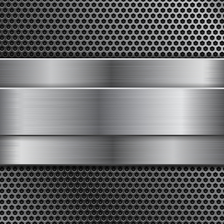 Metal background with perforation and brushed steel plate. Vector 3d illustration
