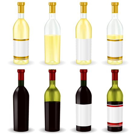Red and white wine. Collection of bottles. Vector 3d illustration isolated on white background